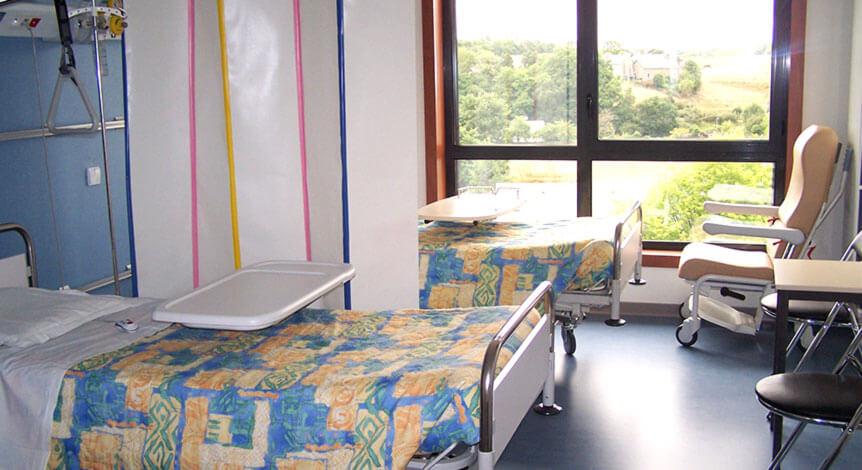 Chambre double proposée dans le service d'hospitalisation